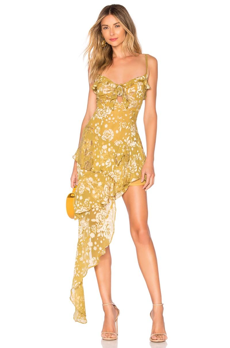 For Love & Lemons Cosmo Asymmetrical Dress in Mustard $308