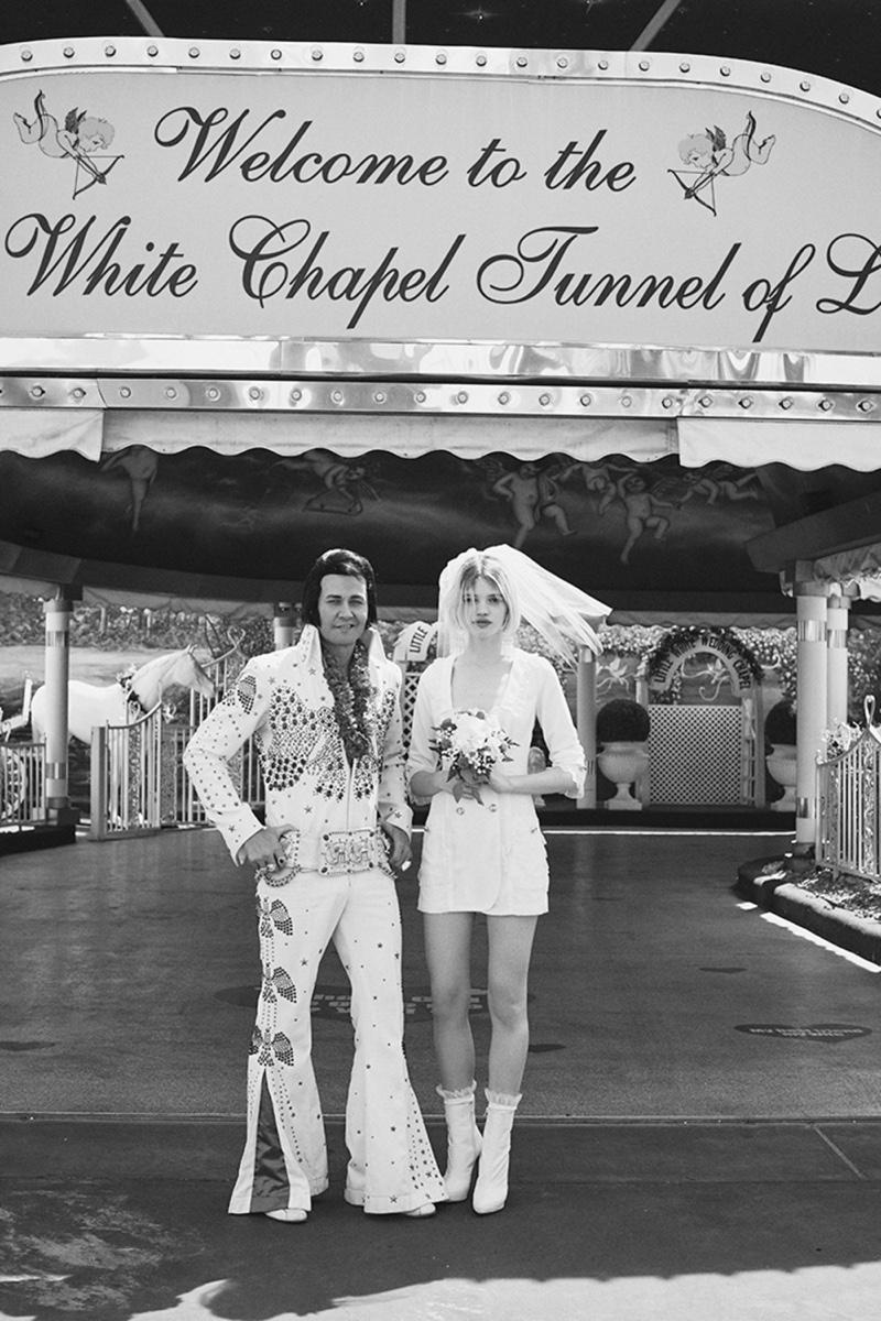 Stella Lucia poses with a Elvis impersonator in Las Vegas