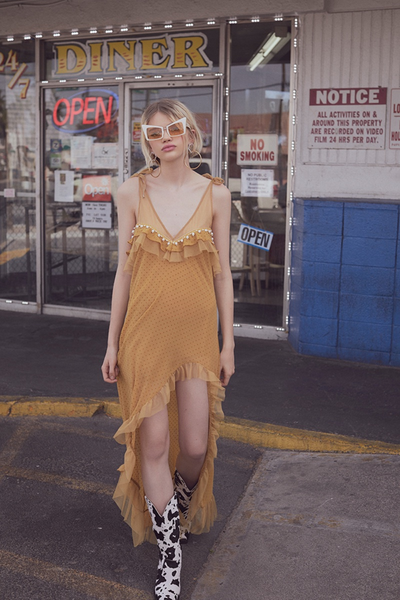 For Love & Lemons unveils its Holiday 2018 lookbook featuring the Marquee maxi dress