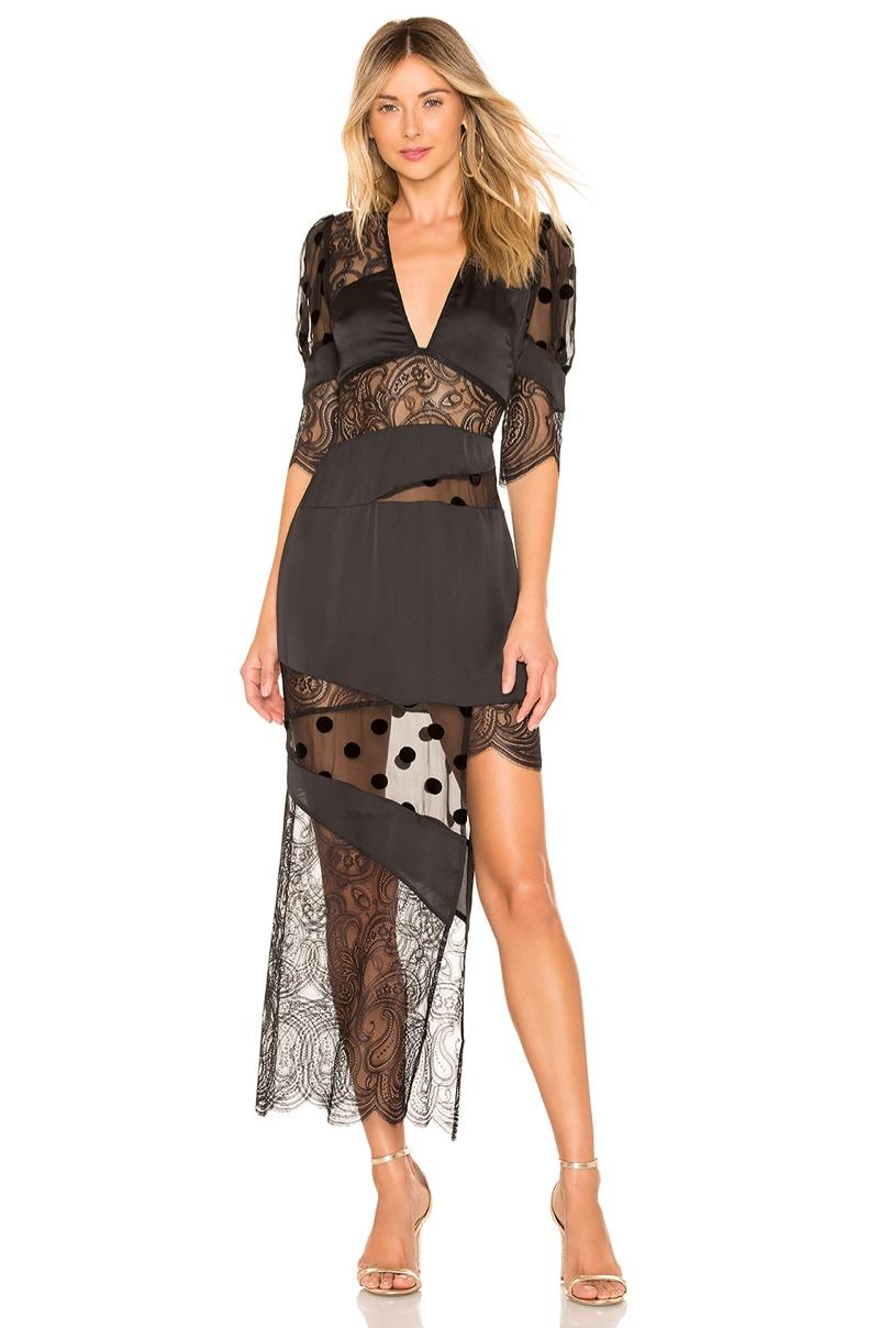 For Love & Lemons Rosalyn Paneled Maxi Dress $317
