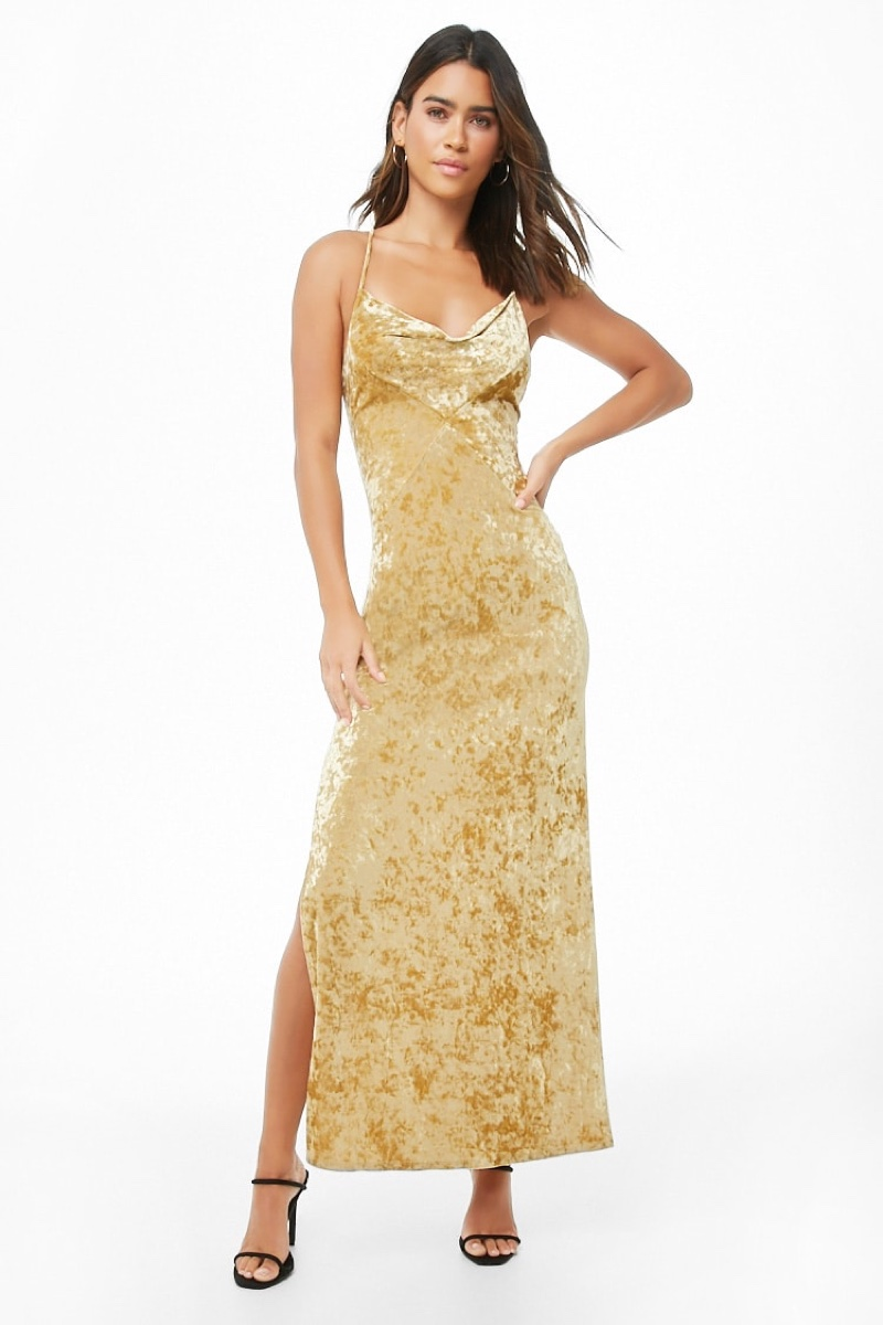 Forever 21 Crushed Velvet Lace-Up Maxi Dress in Gold $24.90