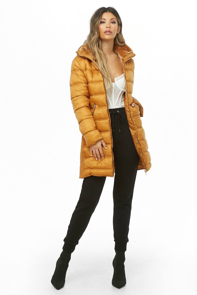 Forever 21 Hooded Puffer Jacket in Mustard $58