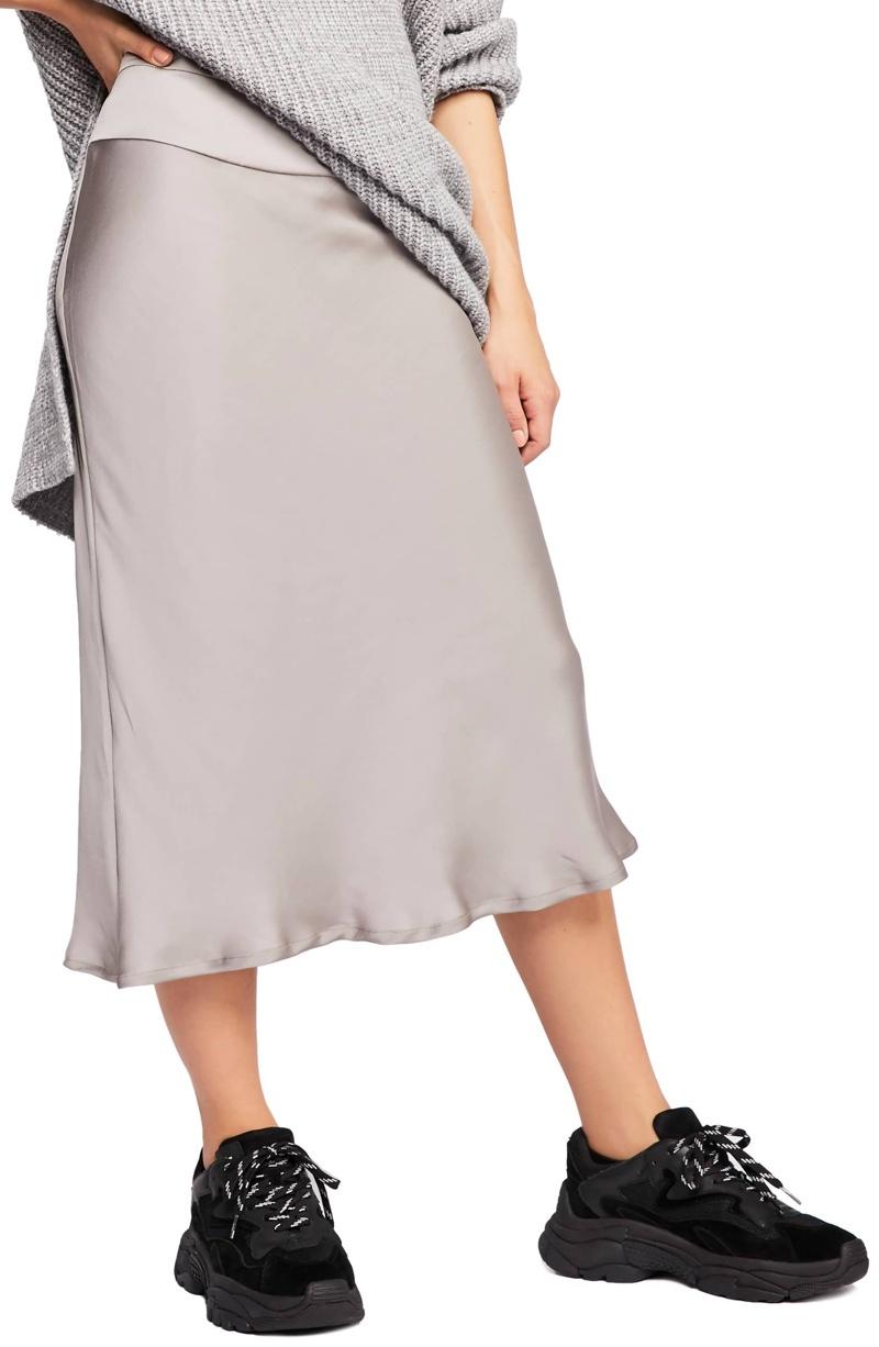 Free People Normani Bias Cut Satin Skirt $78