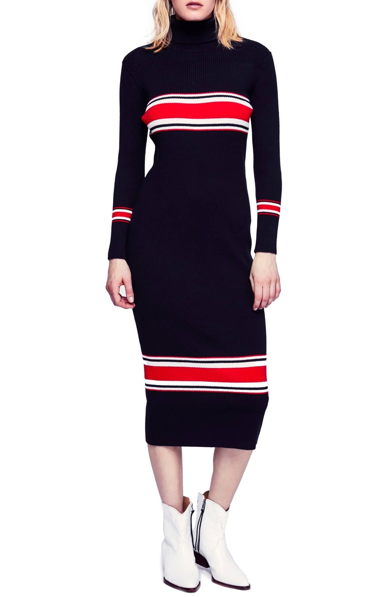 Free People Sport Stripe Midi Sweater Dress $168