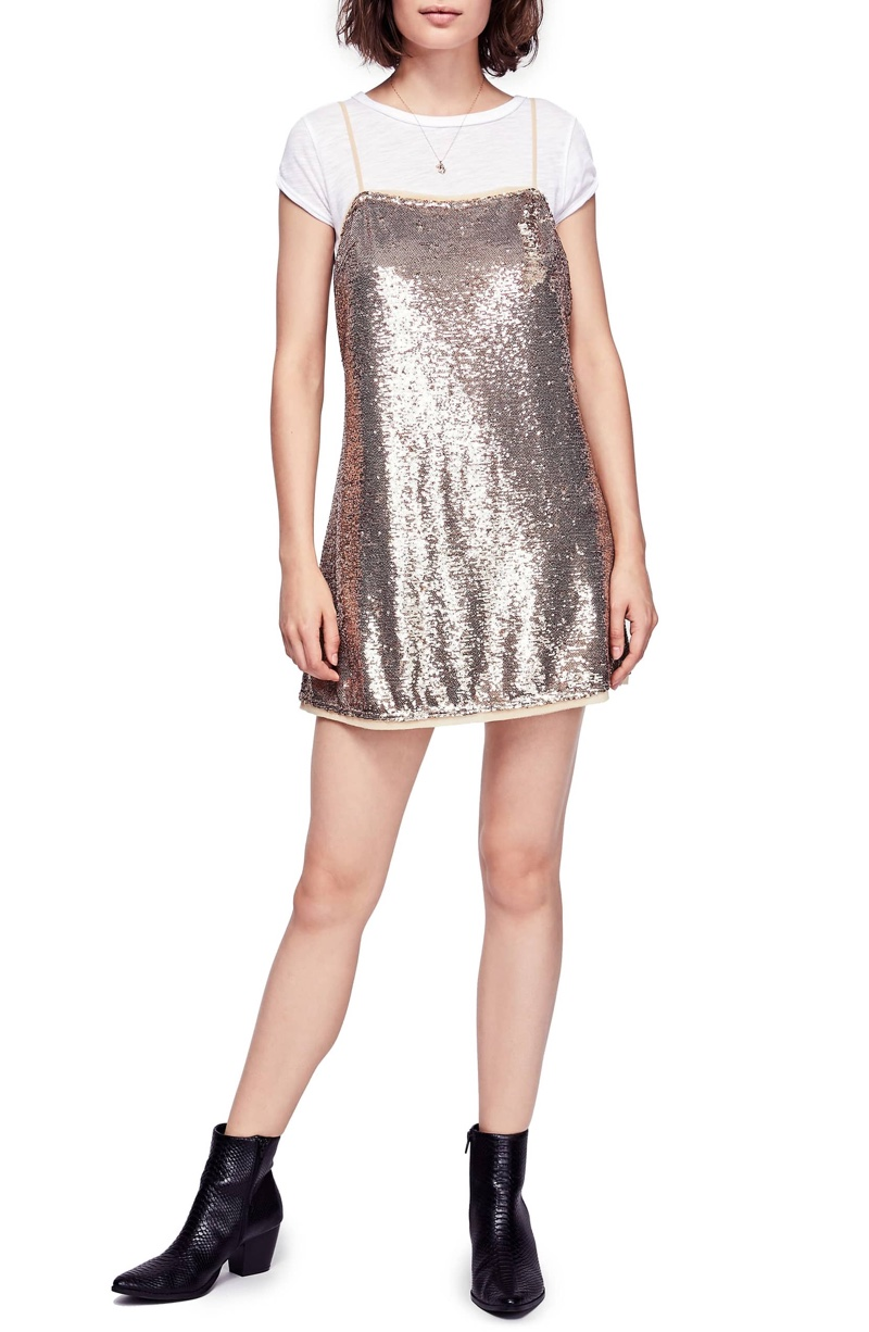 Free People Time to Shine Sequin Slipdress $78