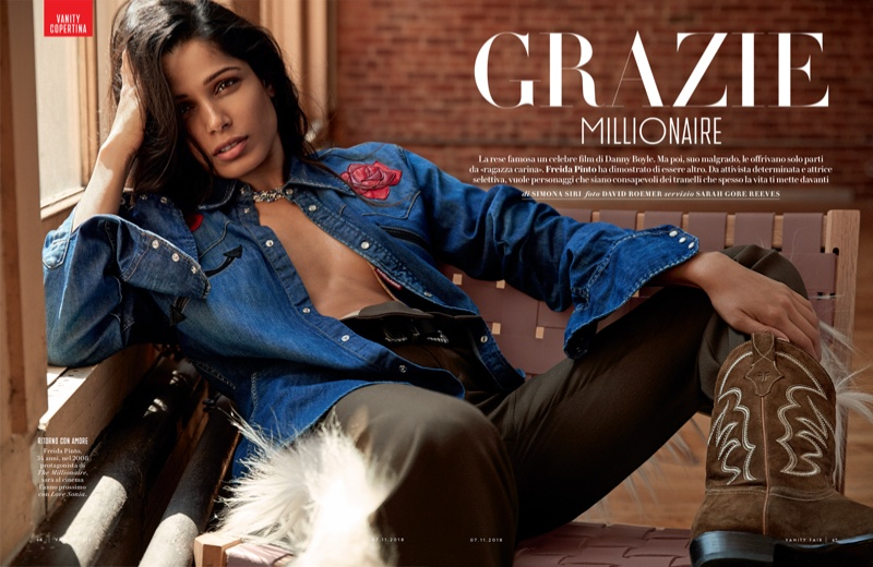 Photographed by David Roemer, Freida Pinto poses in a denim look