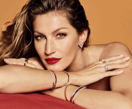 Supermodel Gisele Bundchen wears a red lipstick shade for the latest Vivara jewelry campaign