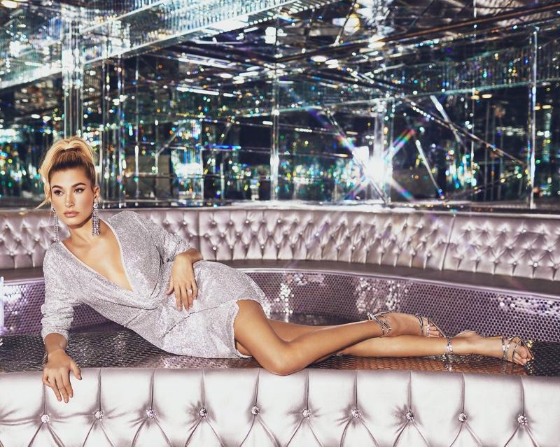 Hailey Baldwin models PrettyLittleThing Silver Sequin Twist Front Bodycon Dress $68