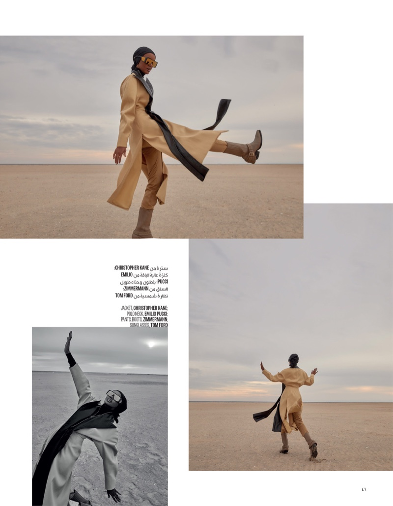 Halima Aden Models Chic Outerwear for Vogue Arabia