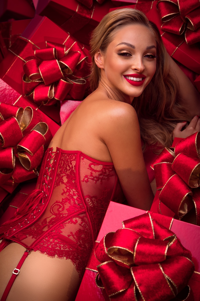 Honey Birdette spotlights the Chloe lace corset in Honey B's Guide to Christmas