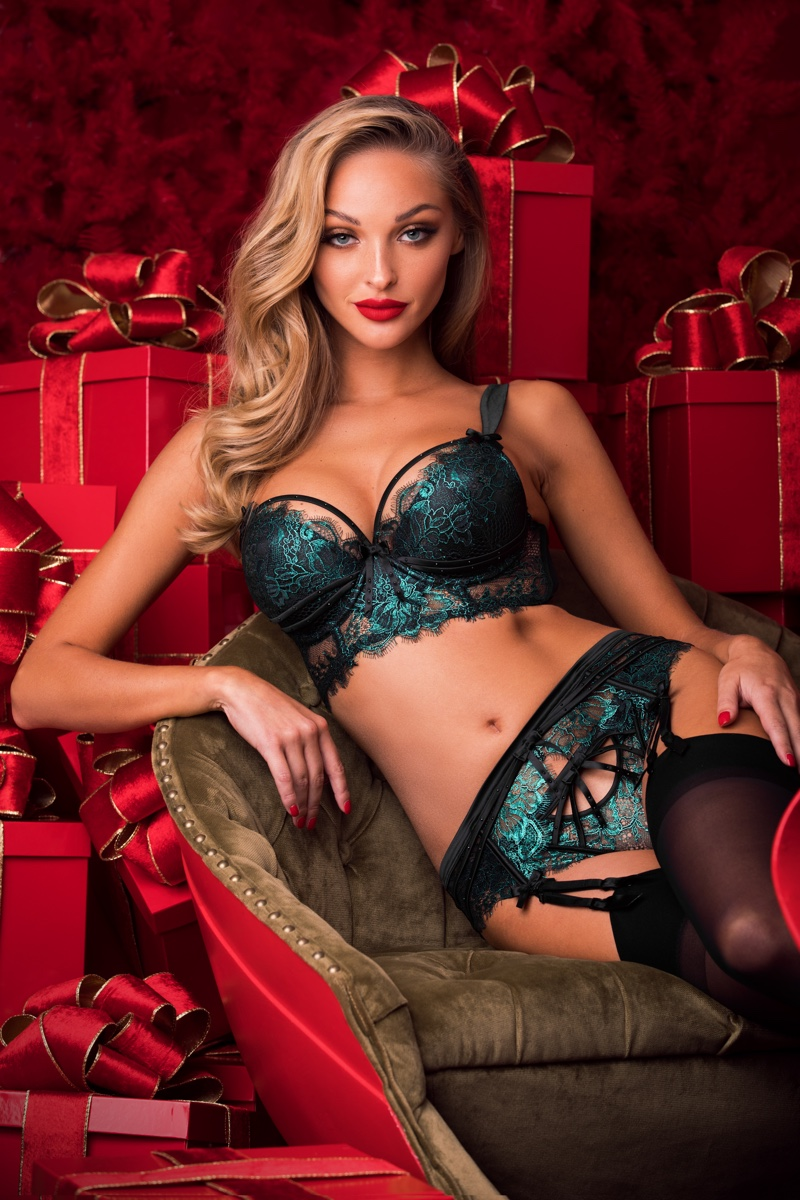 Kristina Sheiter wears Madame lingerie set in emerald for Honey Birdette Holiday 2018 campaign