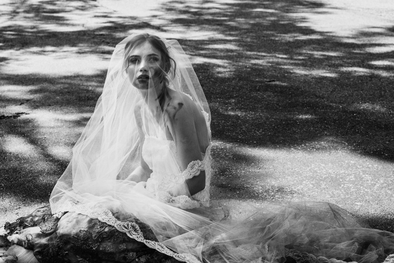 Wearing a bridal look, Imogen Poots poses in The Endings. Photo: Caitlin Cronenberg