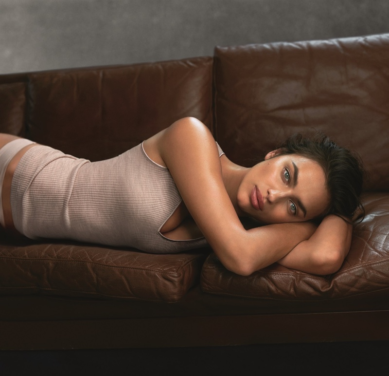 Model Irina Shayk poses in Intimissimi's new knitwear collection