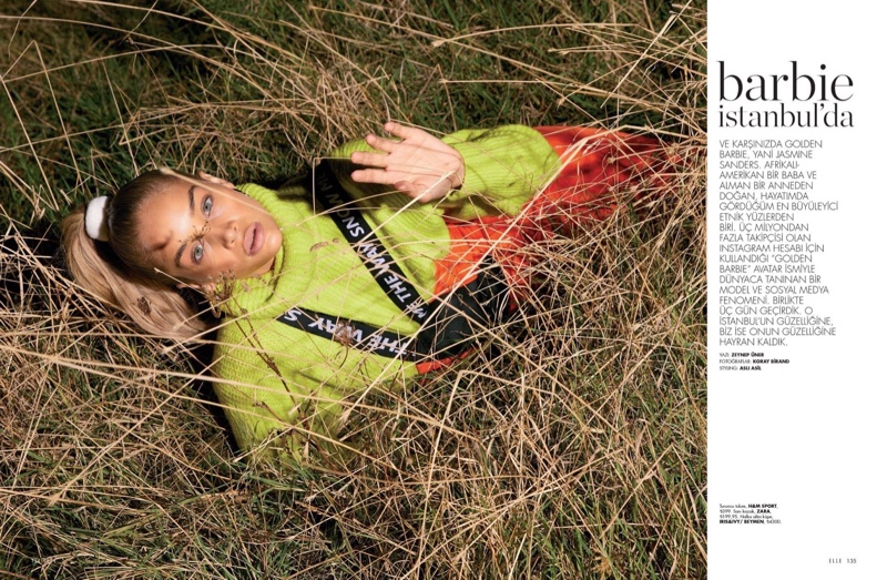Jasmine Sanders Gets Sporty Glam for ELLE Turkey