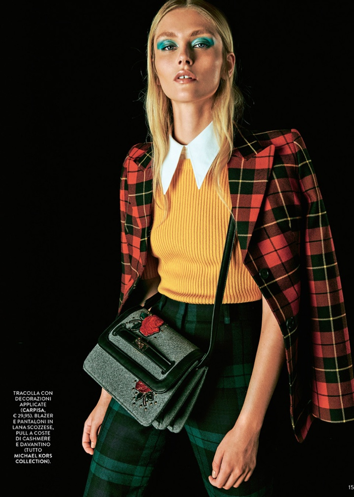 Justine Geneau Models Checked Prints for Grazia Italy