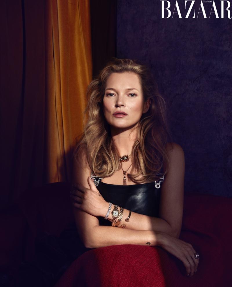 Kate Moss Wears Ladylike Styles for Harper's Bazaar