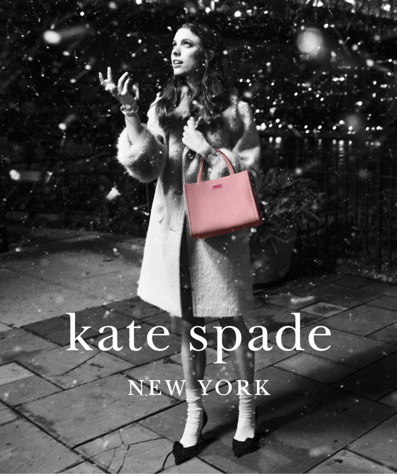 Margaret Qualley Gets Festive in Kate Spade Holiday '18 Campaign