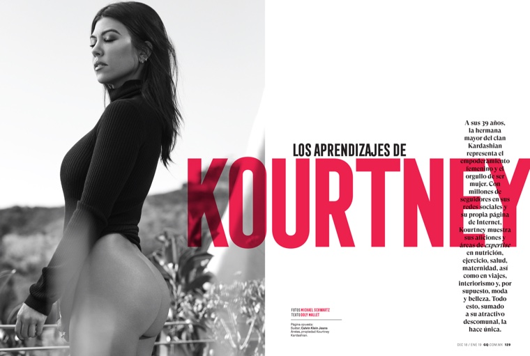 Photographed by Michael Schwartz, Kourtney Kardashian wears Calvin Klein Jeans sweater