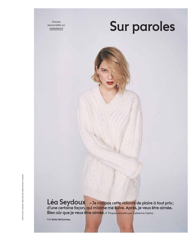 Actress Lea Seydoux wears Stella McCartney sweater