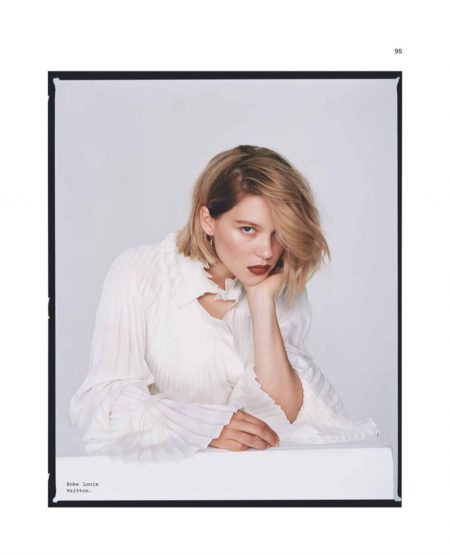 Dressed in white, Lea Seydoux wears Louis Vuitton dress