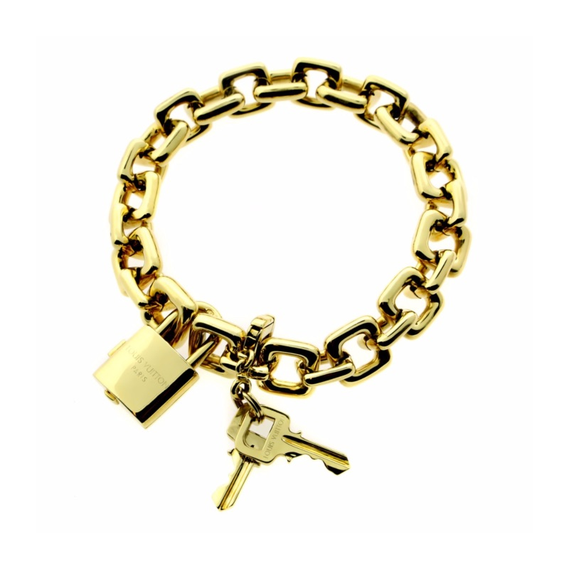 Louis Vuitton Padlock & Keys Gold Charm Bracelet