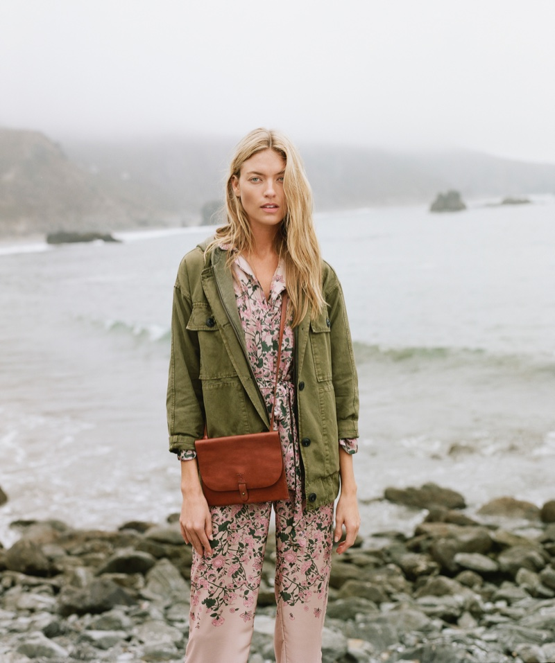 Martha Hunt poses by the sea for Lucky Brand Holiday 2018 campaign