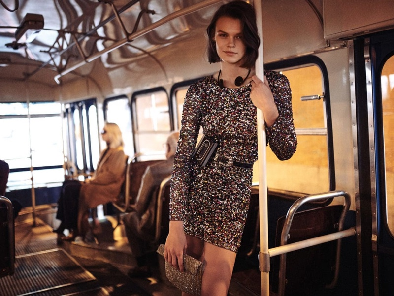 Cara Taylor stars in Mango Evening fall-winter 2018 campaign