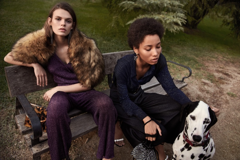Cara Taylor and Lineisy Montero front Mango Evening fall-winter 2018 campaign