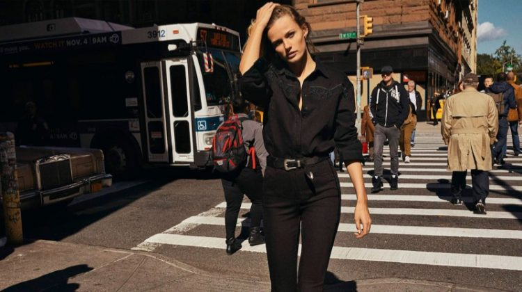 Edita Vilkeviciute poses in an all black look from Massimo Dutti