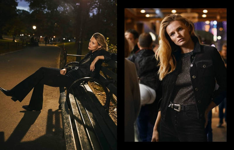 Edita Vilkeviciute poses in nighttime looks from Massimo Dutti