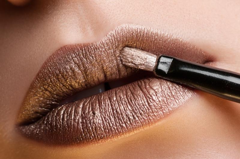 A modern metallic lipstick shade.