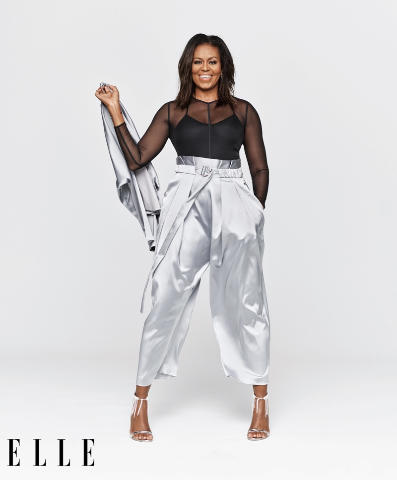 Michelle Obama flashes a smile for ELLE US