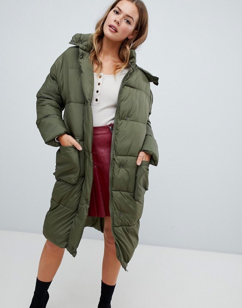 Missguided Longline Padded Jacket Khaki $95