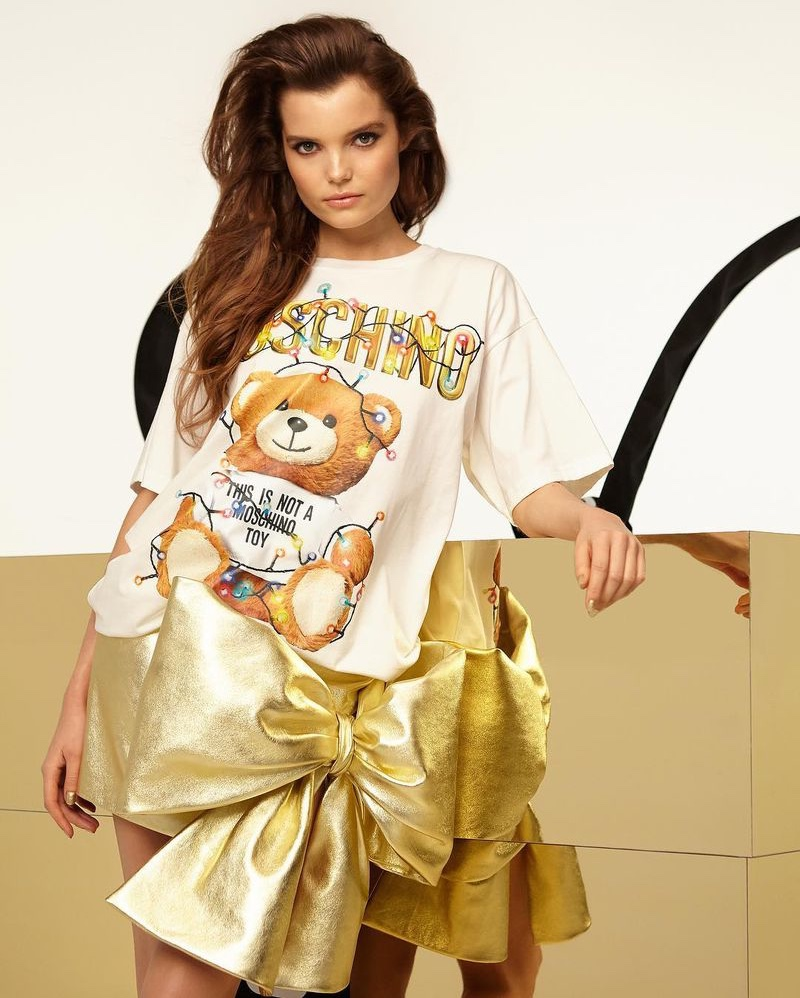 Michelle Van Bijnen shines in gold for Moschino Teddy Holiday 2018 campaign