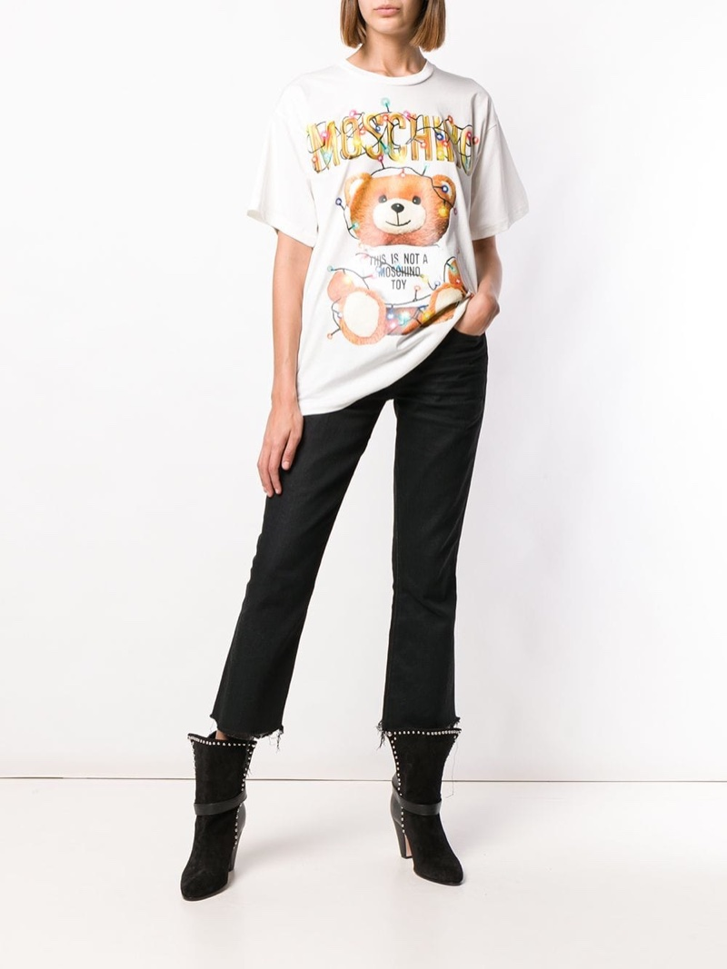 Moschino Toy Print T-Shirt in White $325