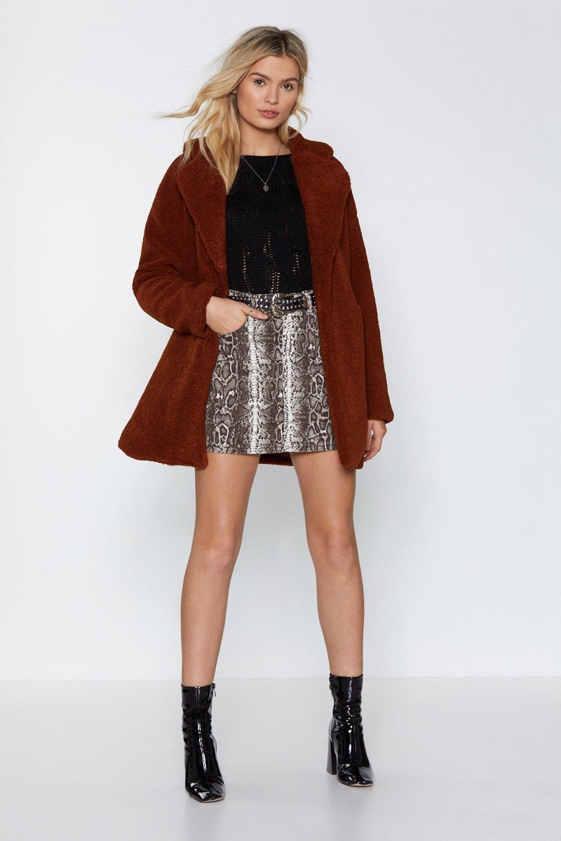 Nasty Gal Long December Faux Fur Coat in Brown $52 (previously $130)