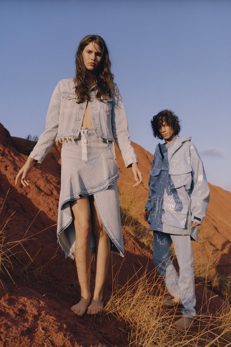 Vanessa Moody and Diogo Guerreiro front Off-White Denim resort 2019 campaign