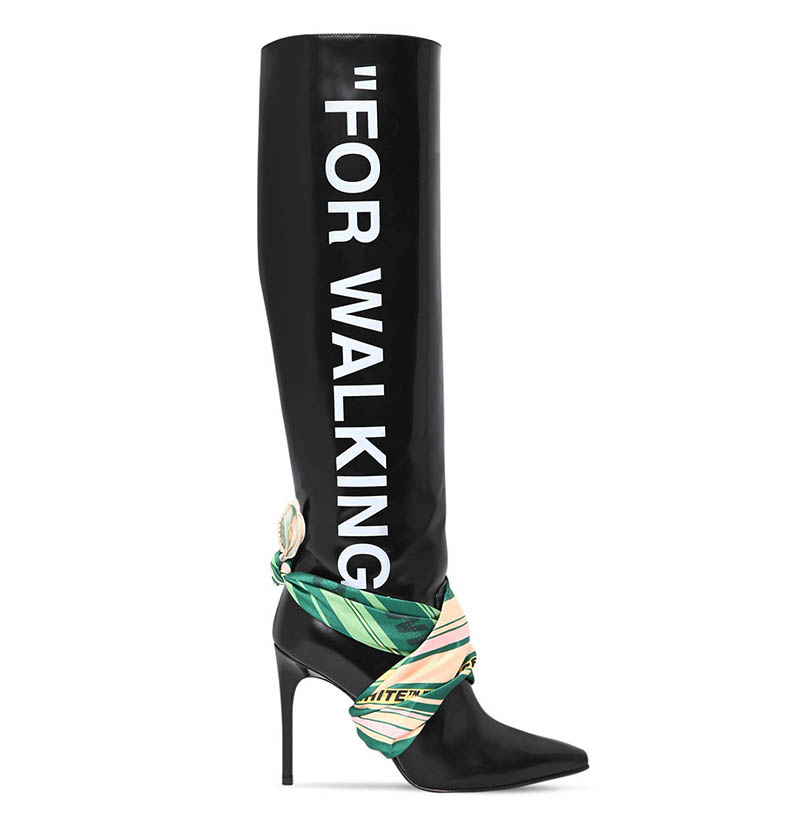 Off-White For Walking Scarf Leather Boots $1,470 (previously $2,100)