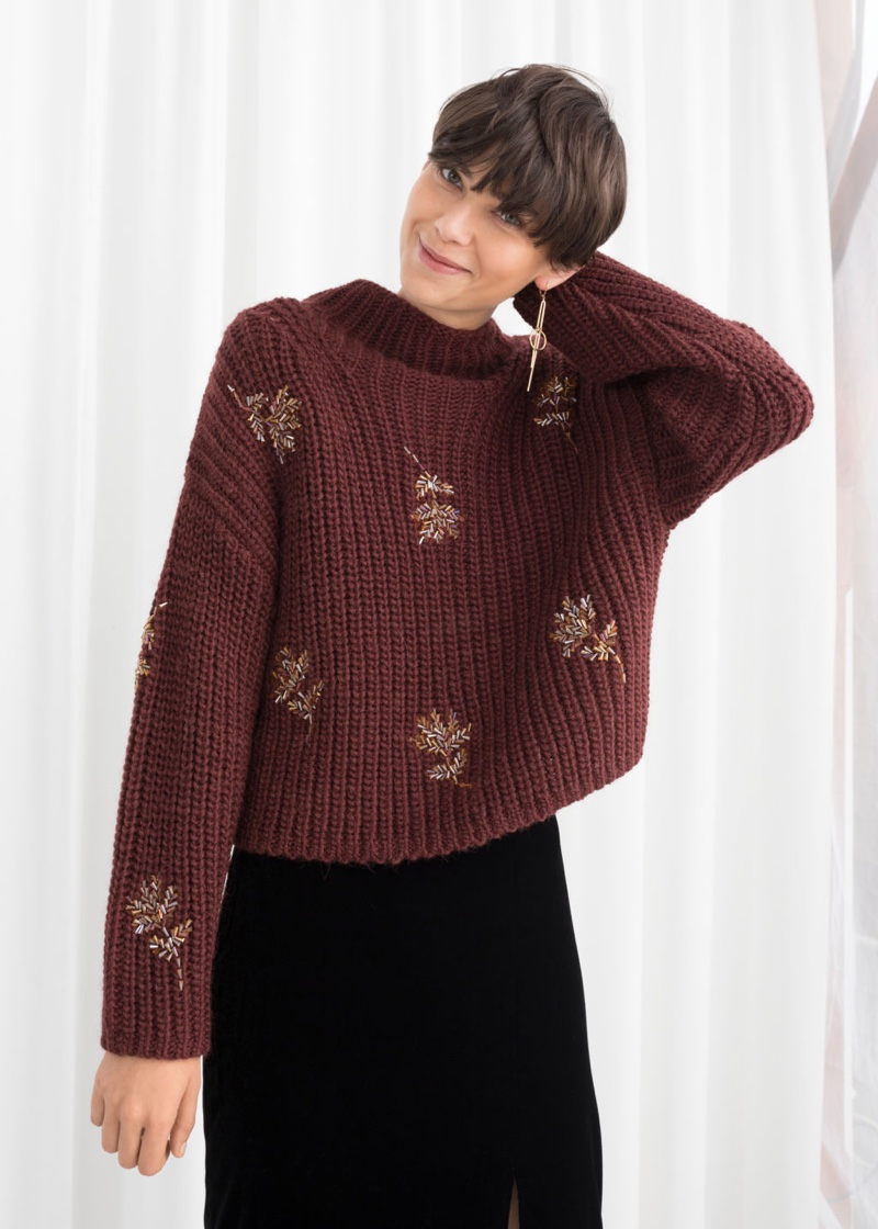 & Other Stories Beaded Floral Knit Sweater $129