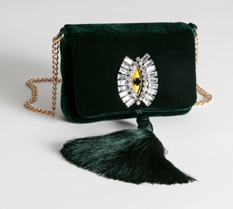 & Other Stories Beaded Velvet Crossbody Bag $59
