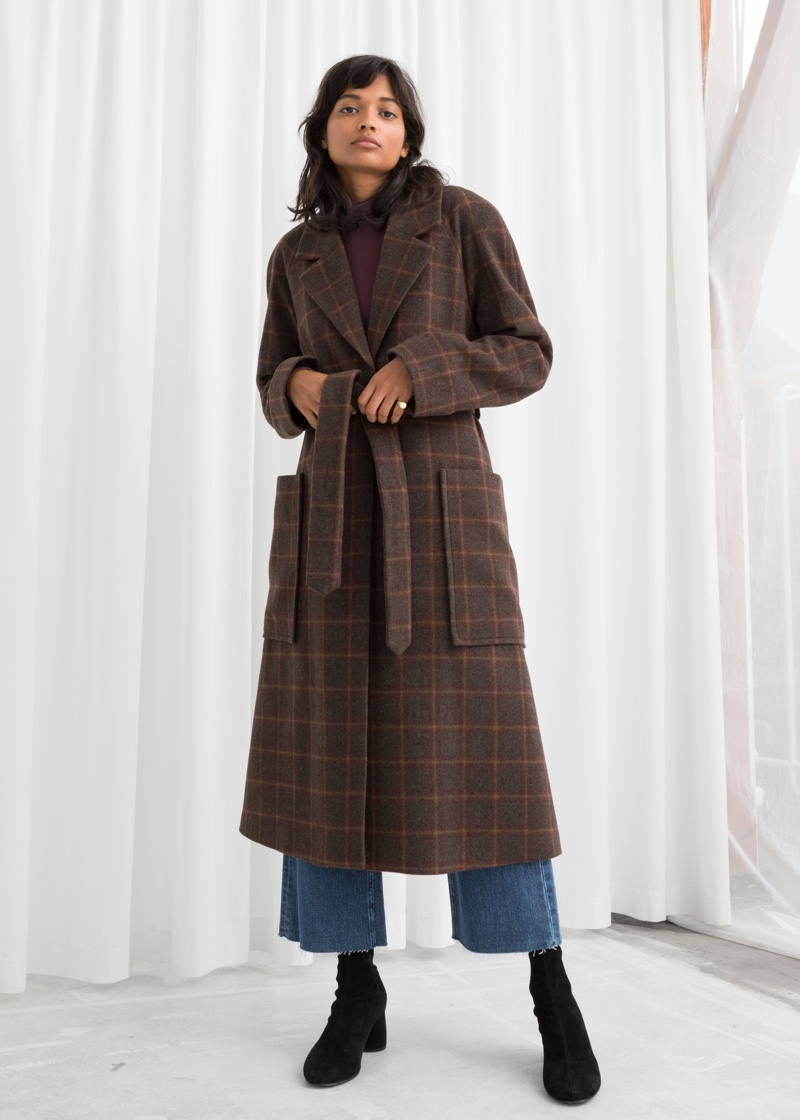 & Other Stories Belted Wool Blend Check Coat $249