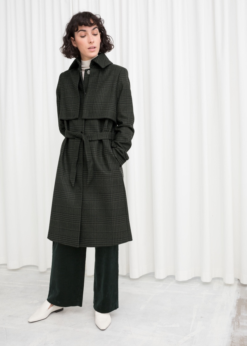& Other Stories Belted Wool Blend Trenchcoat in Green $249