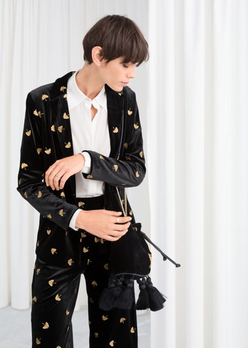 & Other Stories Embroidered Velvet Blazer $129