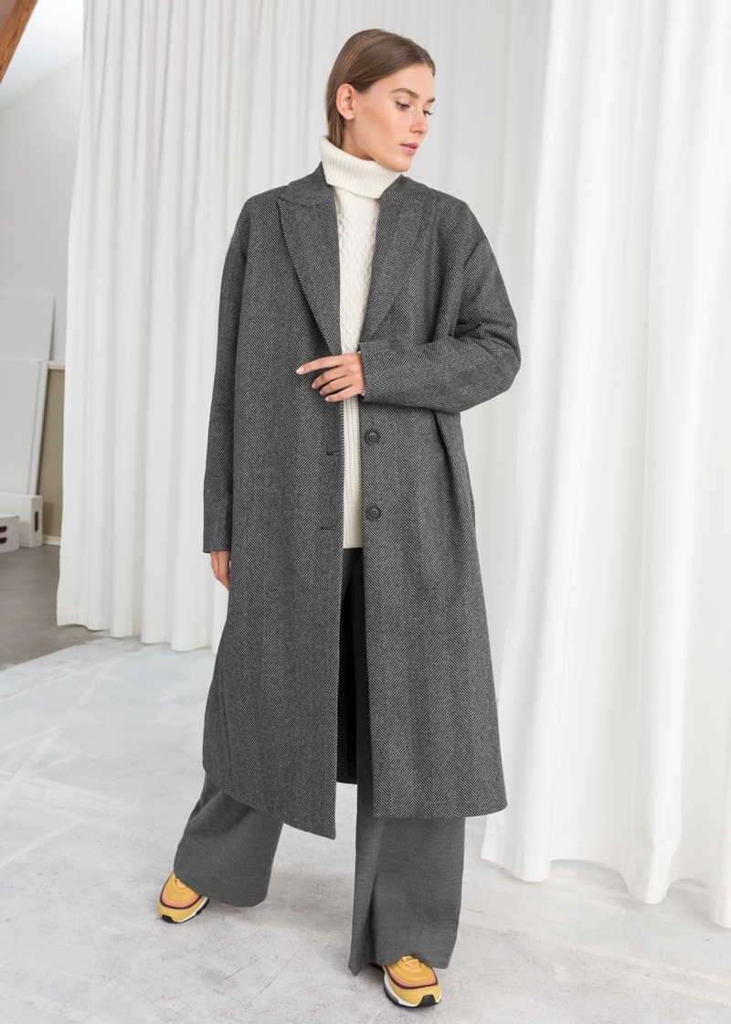 & Other Stories Herringbone Wool Blend Coat $219