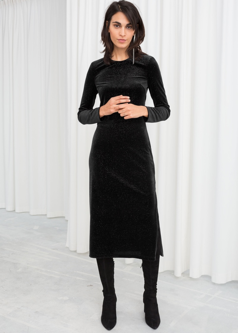 & Other Stories Long Sleeve Velvet Midi Dress $99