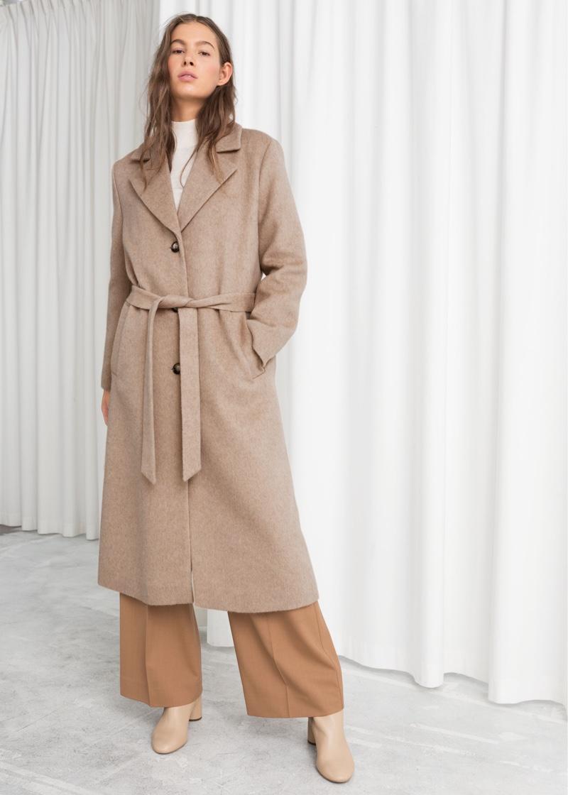 & Other Stories Oversized Alpaca Blend Coat in Beige $249