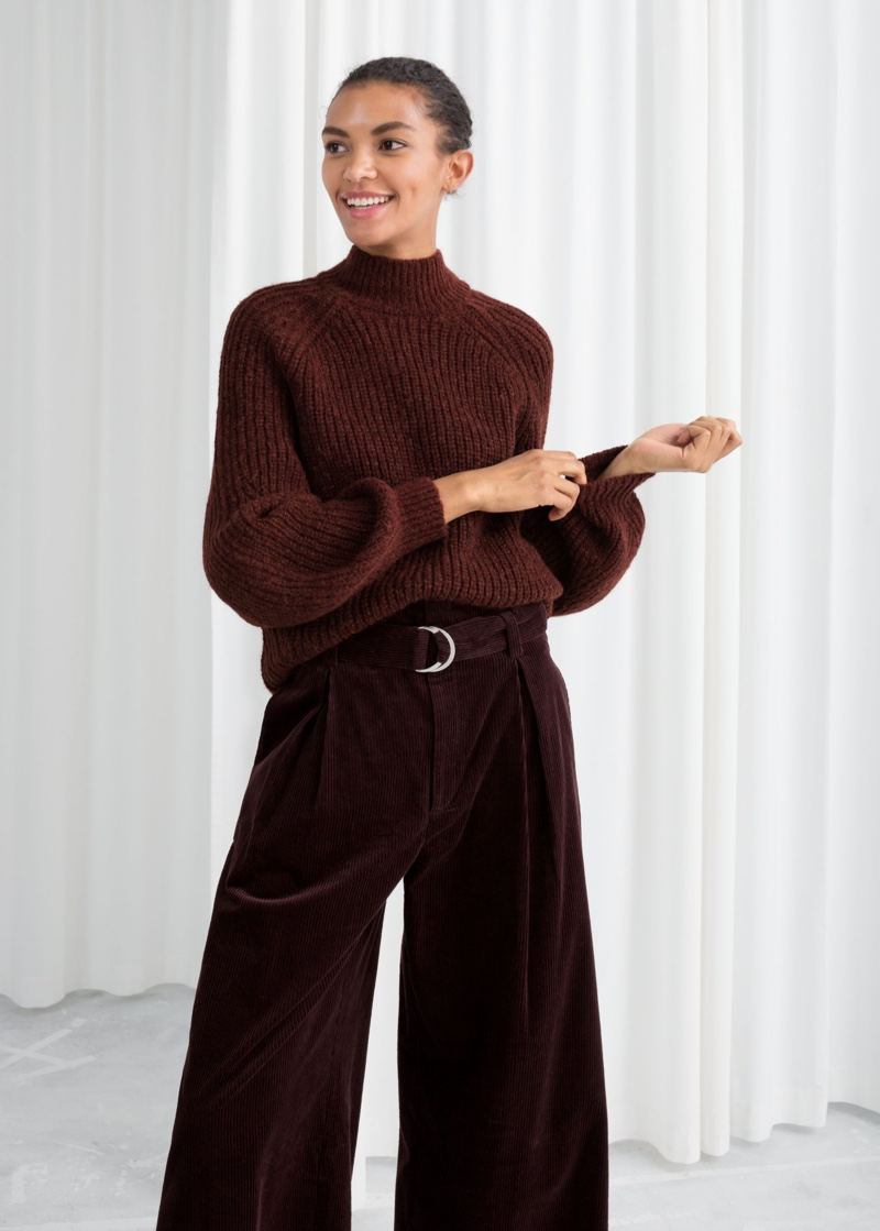 & Other Stories Oversized Mock Neck Sweater in Burgundy $89