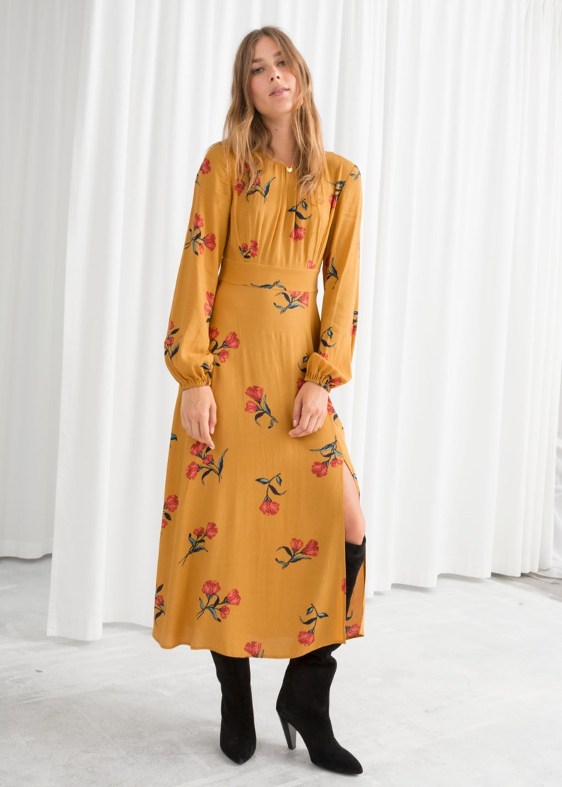 & Other Stories Printed Long Sleeve Midi Dress $53 (previously $119)