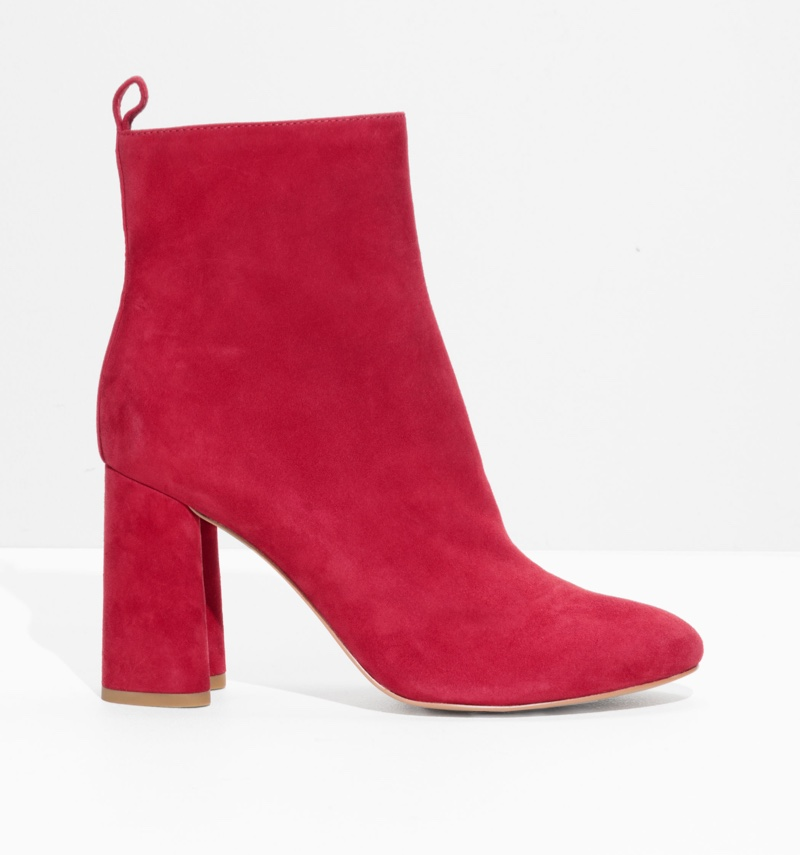 & Other Stories Sculpted Heel Suede Boots in Raspberry $72 (previously $179)
