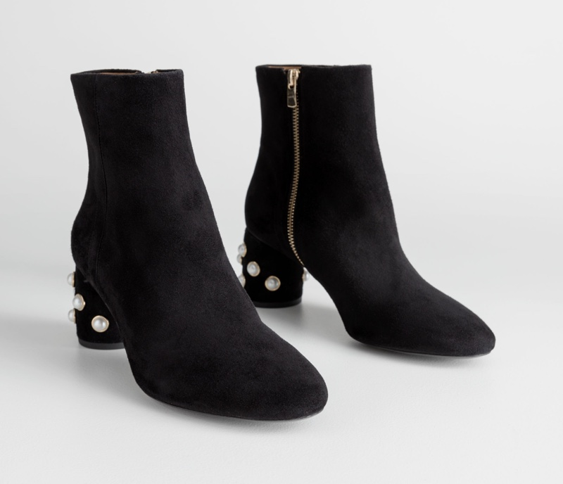 & Other Stories Suede Pearl Stud Ankle Boots $179